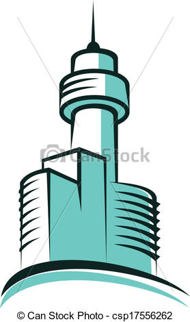 Clip Art Vector of Modern skyscraper symbol with high tower.