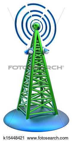 Clipart of digital transmitter sends signals from high tower.