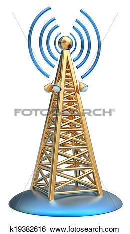 Stock Illustration of digital transmitter sends signals from high.