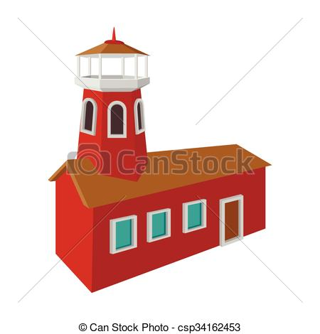 Clipart Vector of Fire station with red high tower cartoon icon on.