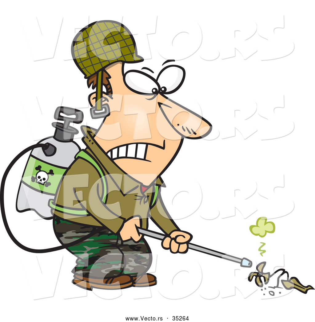Vector of a Victorious Cartoon Man Killing Weeds with a Toxic.