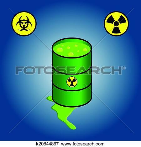 Clip Art of Barrel leaking toxic waste k20844867.