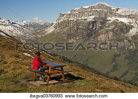 "Stock Photo of ""Walker looking from a rest area high above the."