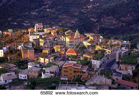 Stock Photo of High angle view of buildings in valley, Tourza.