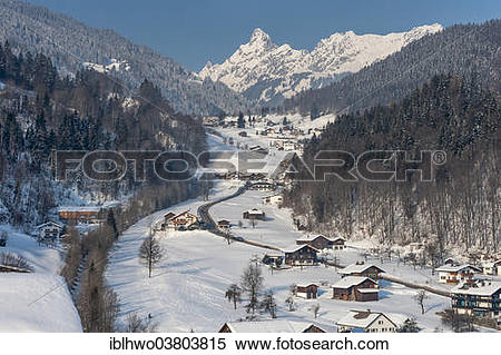 "Stock Image of ""High valley in winter, road to Golm, behind the."