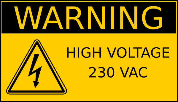 Warning High Voltage 230 Vac Clip Art at Clker.com.