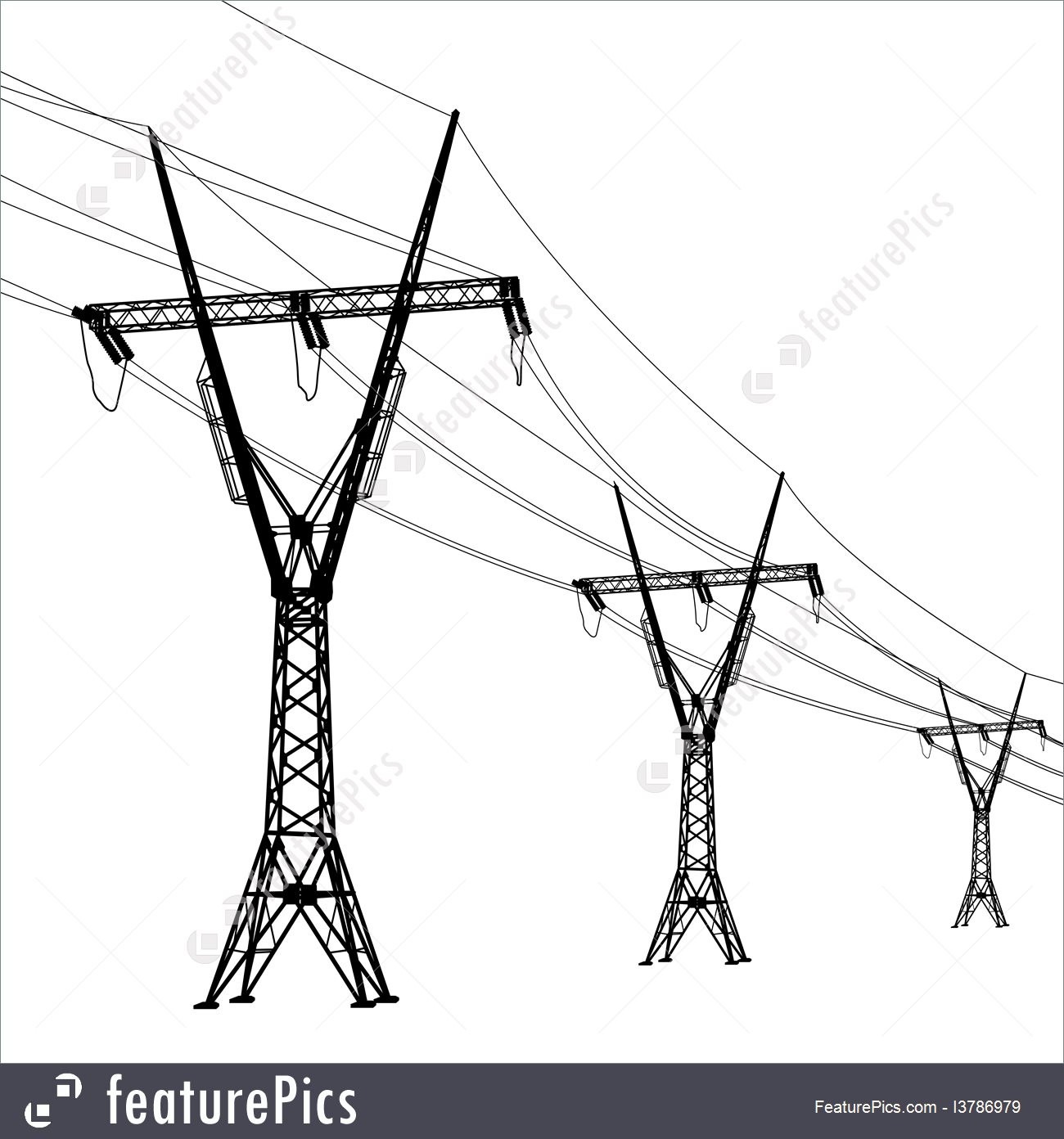 Power And Energy: Silhouette Of High Voltage Power Lines Vector.