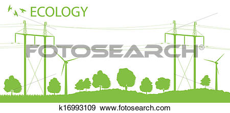 Clip Art of Wind alternative energy generator vector background.