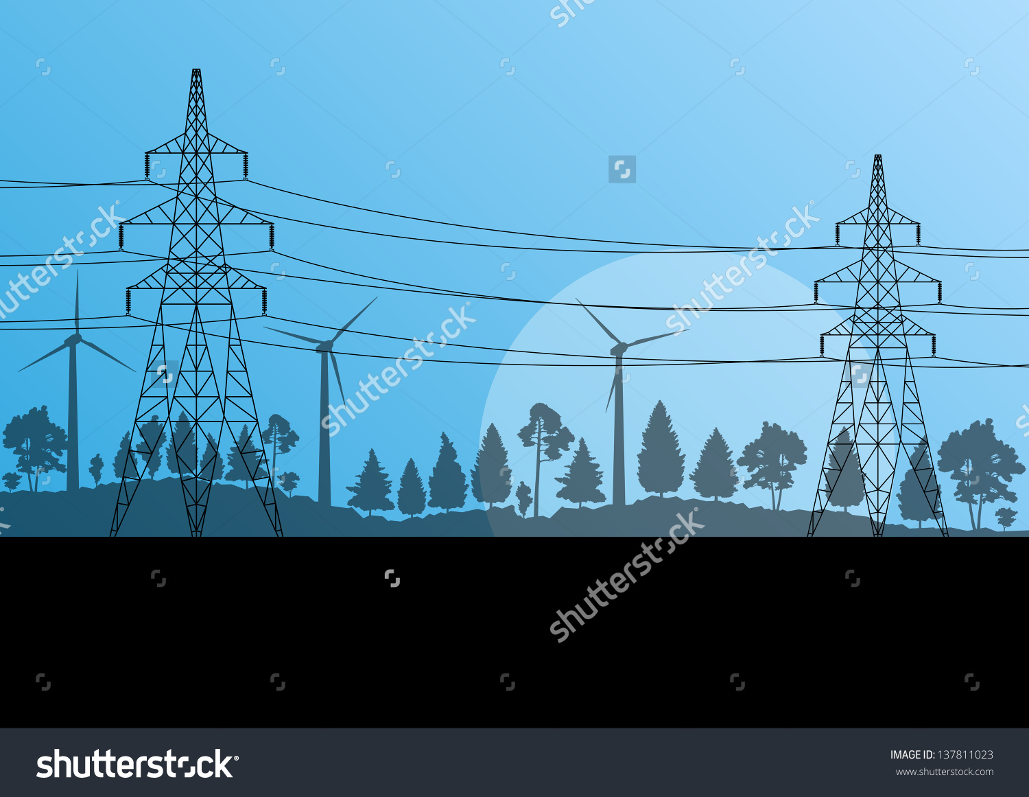 Power High Voltage Tower Vector Background Stock Vector 137811023.