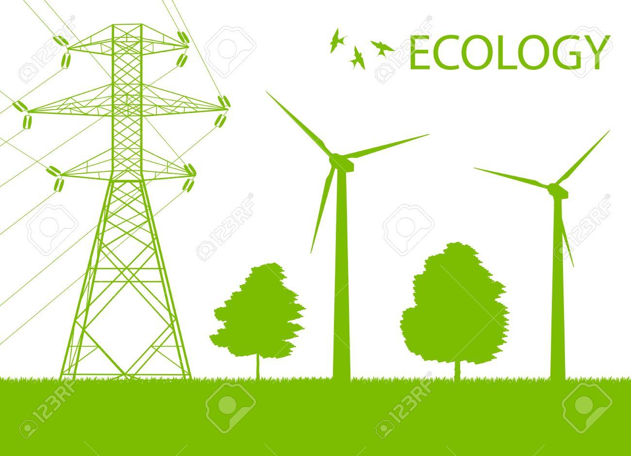 Wind Alternative Energy Generator Green Vector Background And.