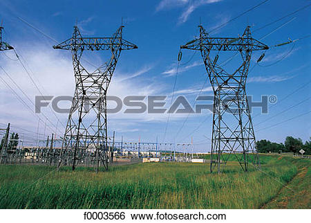 Stock Images of electricity, energy, pylon, high voltage, industry.