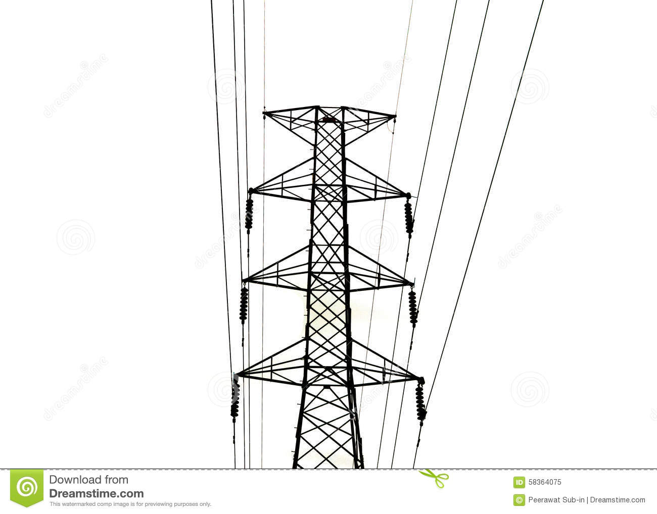 The High Voltage Transmission Lines Isolated On White Background.