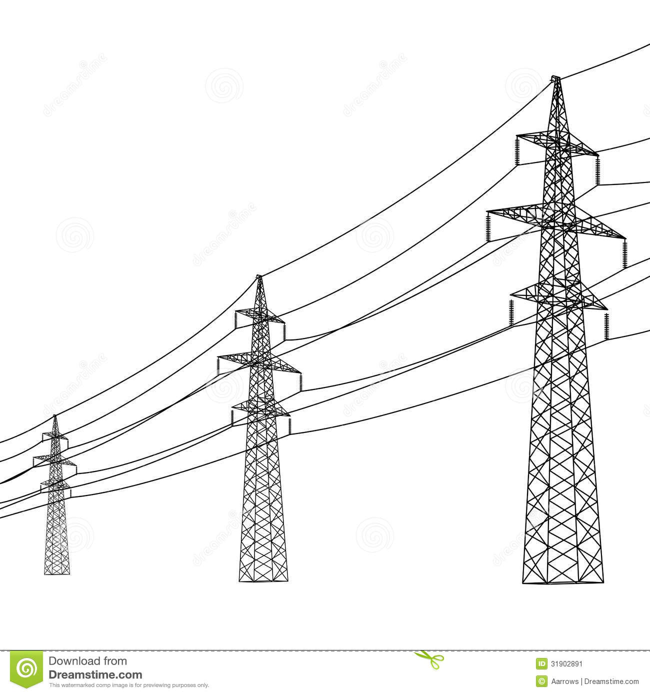 High Voltage Power Line Stock Photo.