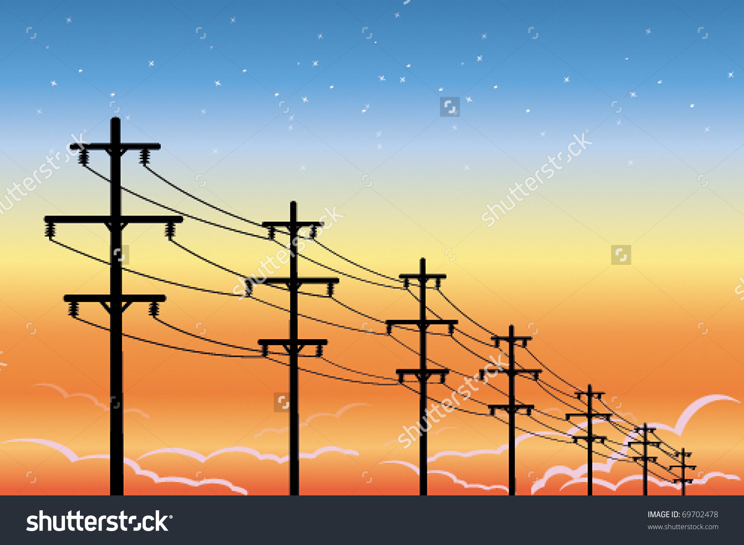 High Voltage Power Lines Stock Vector 69702478.