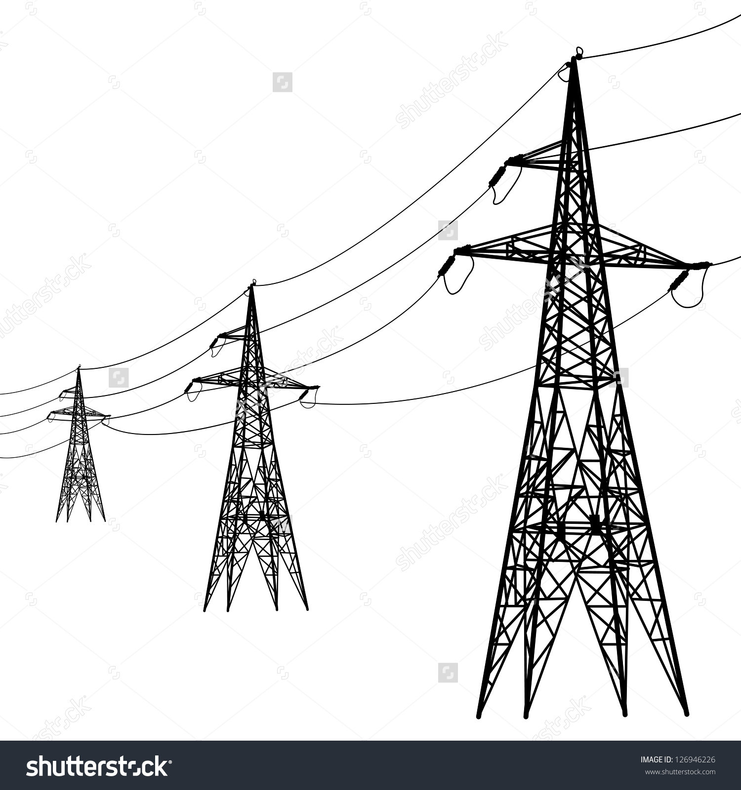 Silhouette High Voltage Power Lines Vector Stock Vector 126946226.