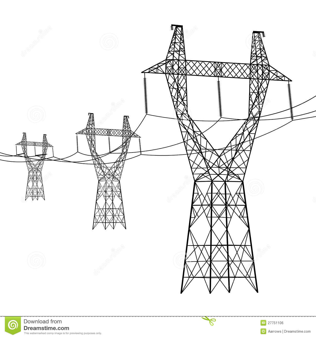 Silhouette Of High Voltage Power Lines Royalty Free Stock Image.