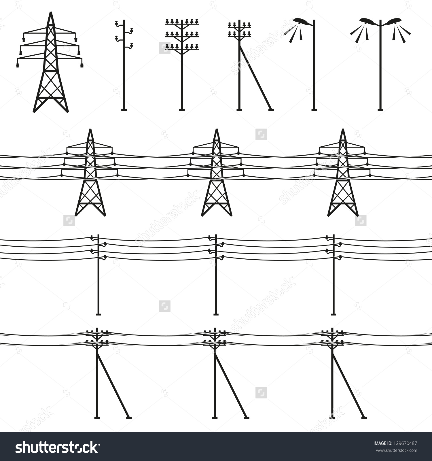 High Voltage Power Lines Stock Vector 129670487.