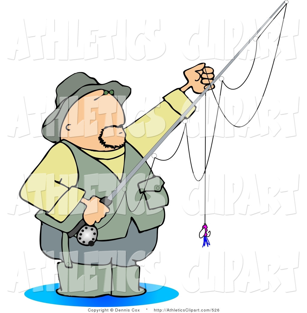 Clip Art of a Fly Fisherman Standing in Knee.