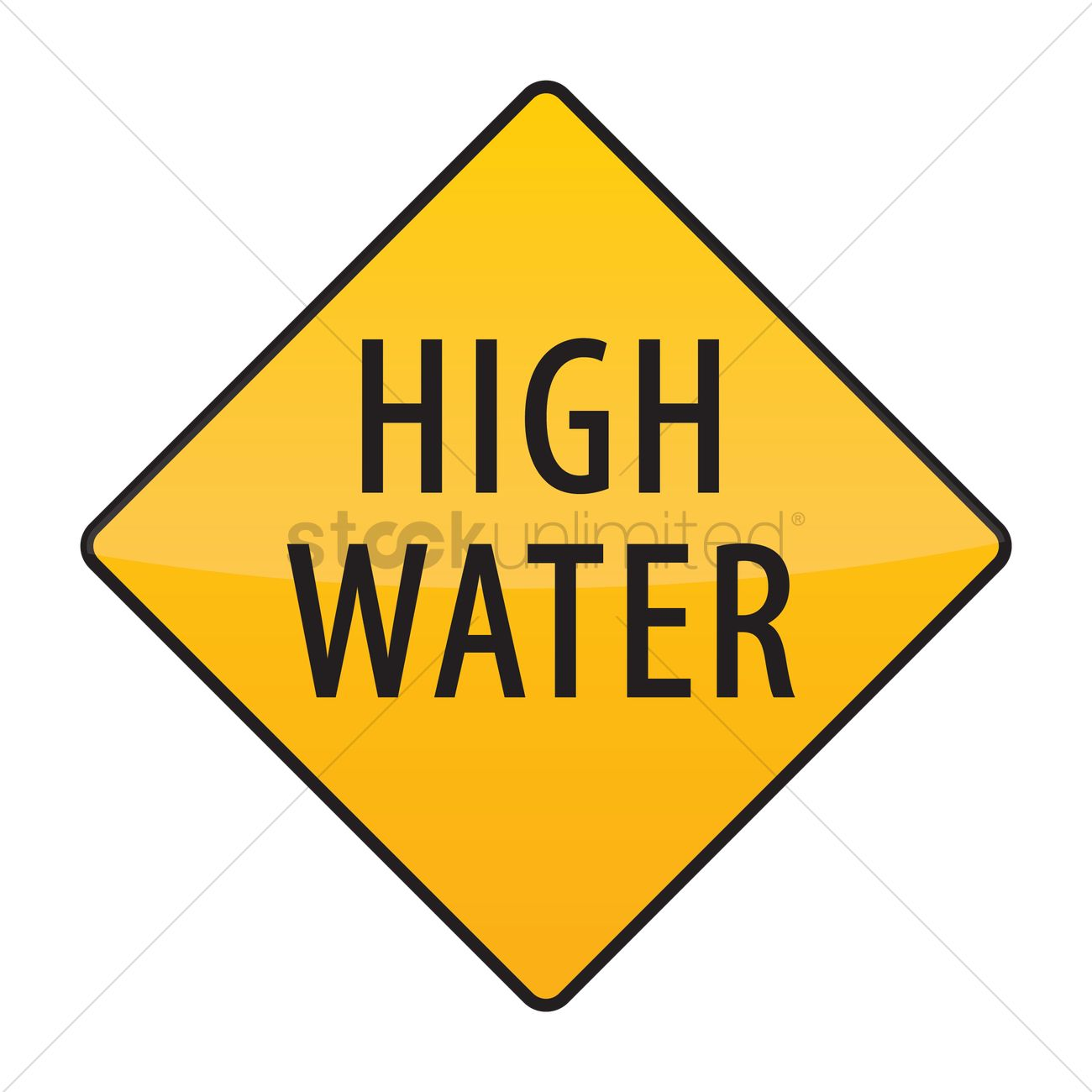 High water warning sign Vector Image.