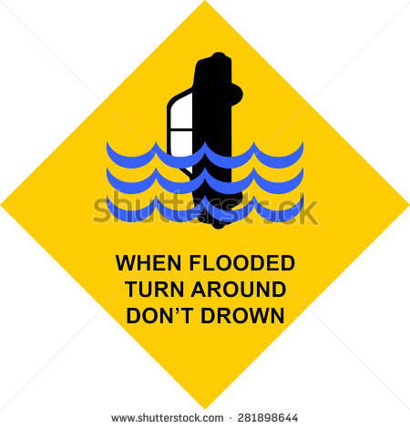 Clipart images of high water warnings.