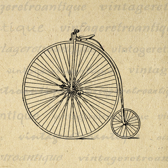 Digital Image Antique High Wheel Bicycle Graphic Illustration.