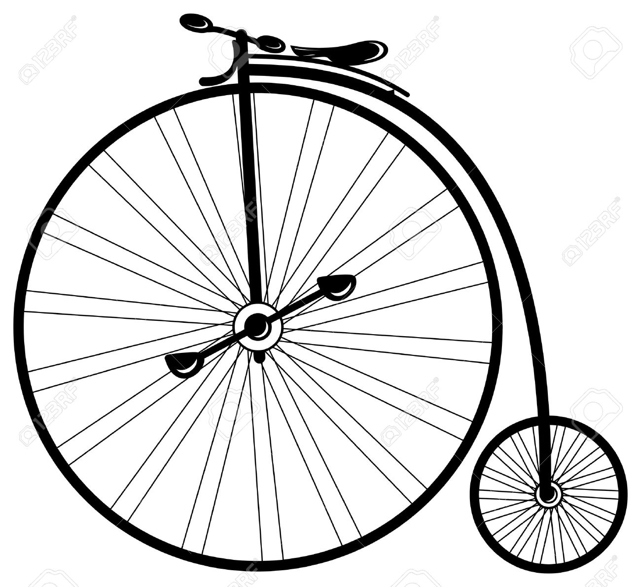 Vintage Bike High Wheel In Vector Mode Royalty Free Cliparts.