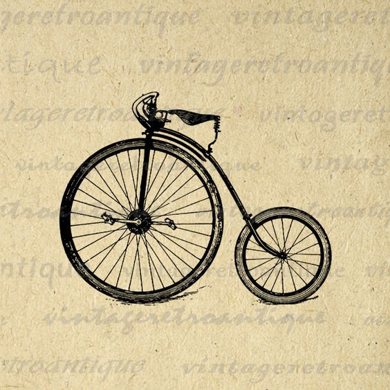 Antique High Wheel Bicycle Printable Digital Download Illustration.