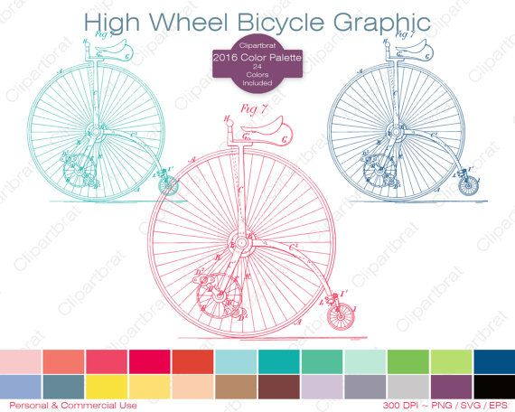 HIGH WHEEL BICYCLE Clipart Commercial Use Clipart by ClipArtBrat.