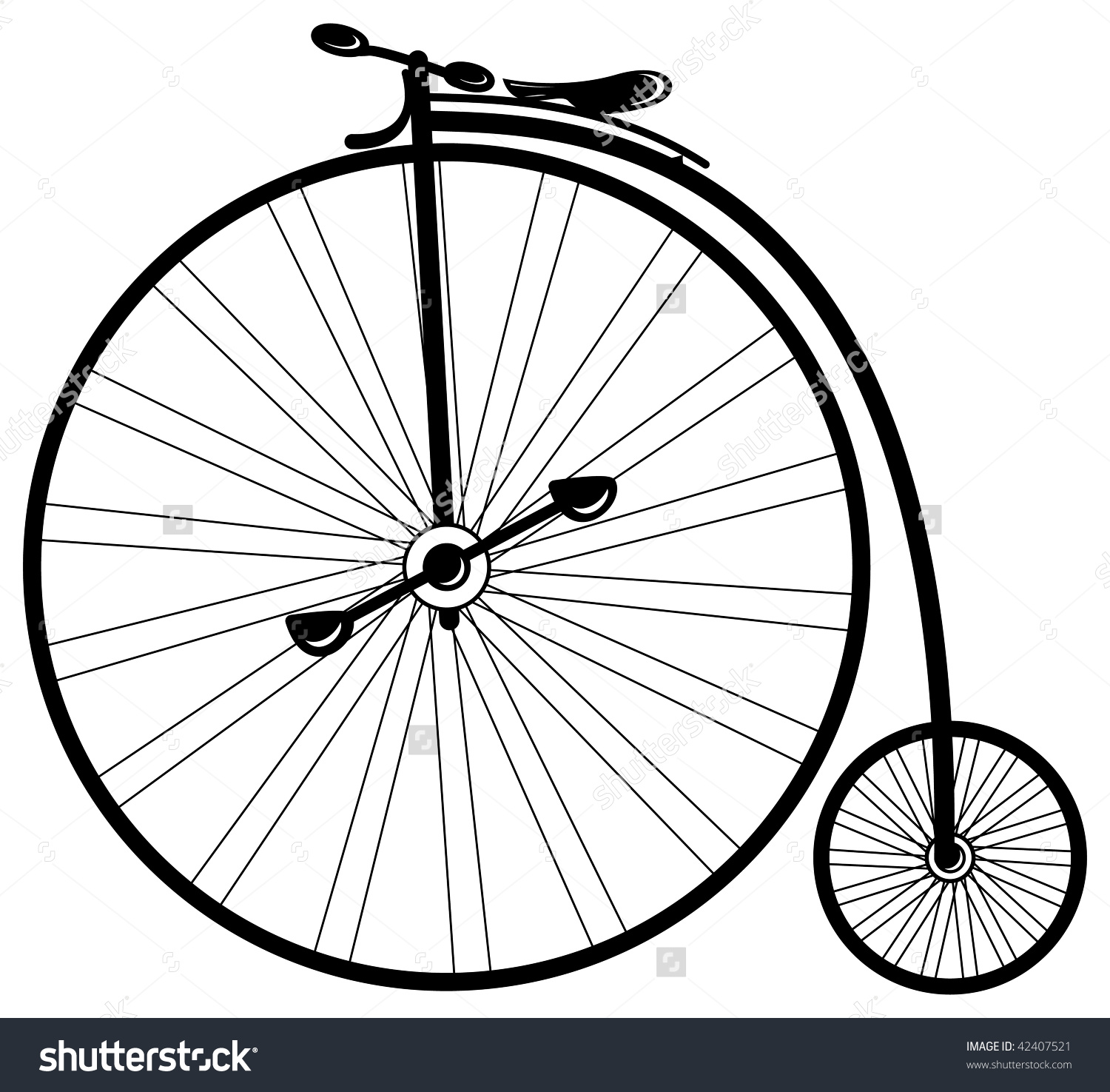 Vintage Bike High Wheel Vector Mode Stock Vector 42407521.