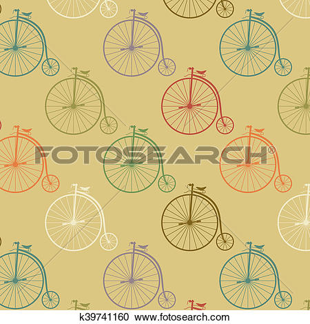 Stock Illustrations of Vintage high wheeler seamless pattern.