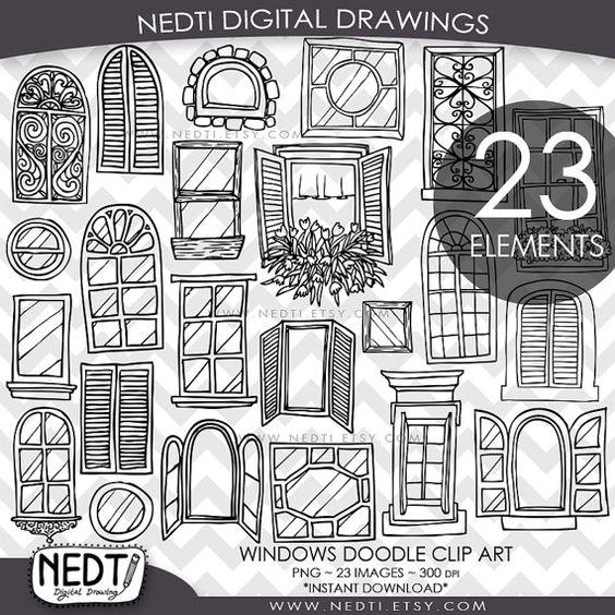 Windows Doodle Clip Art, Window Clipart, Digital Images, PNG, High.