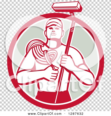 Clipart of a Retro High Rise Male Window Washer Holding a Rope and.