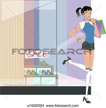 Drawings of shopping bag, shoes, holding, sale, high heels, show.