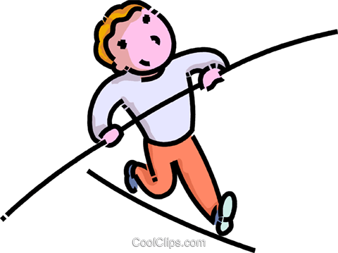boy walking on a high wire Royalty Free Vector Clip Art.