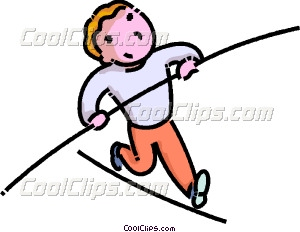 boy walking on a high wire Vector Clip art.