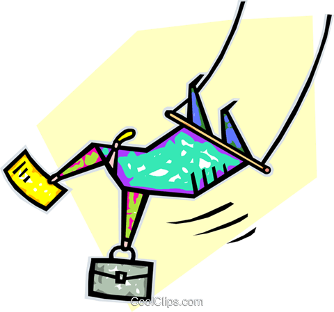 businessman on the high wire Royalty Free Vector Clip Art.