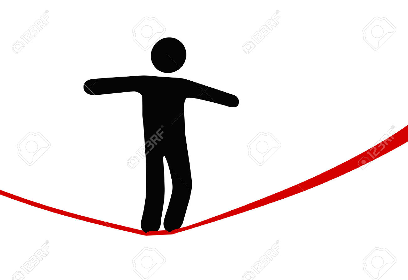 A Symbol Person Balances And Walks A High Wire Tightrope, Above.