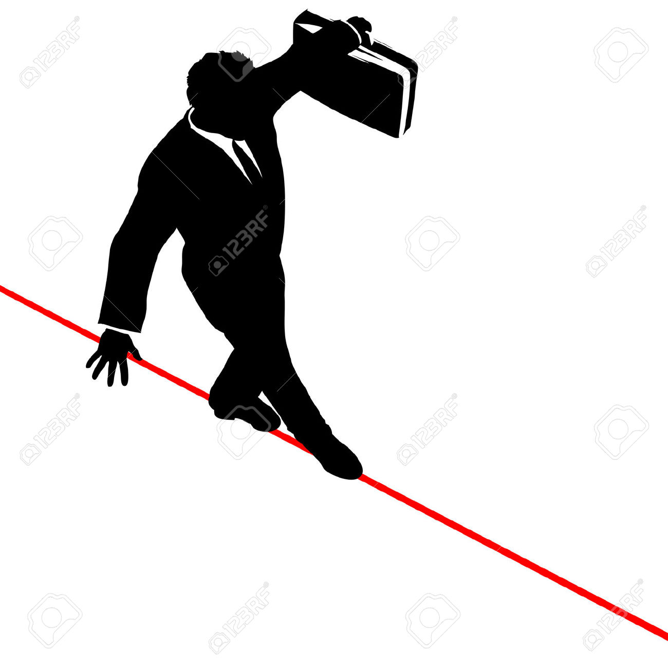 A Business Man Walks A High Wire Tightrope, Above Risk And Danger.