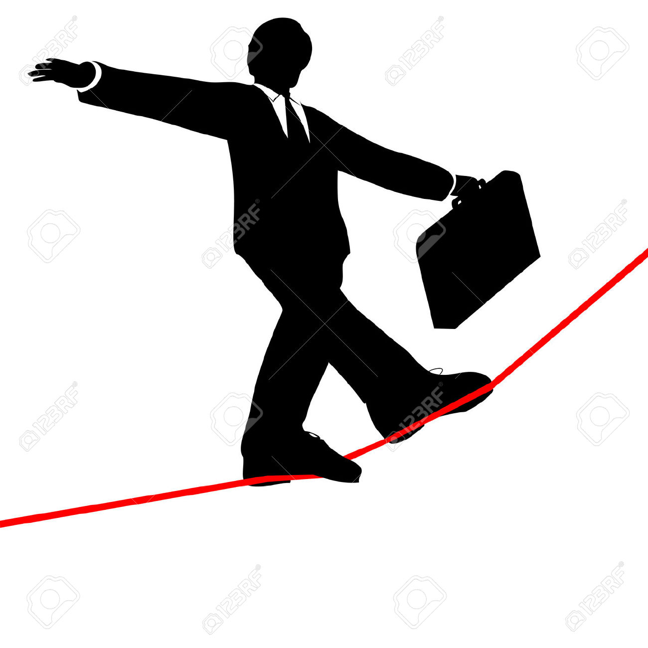 A Business Man Balances With A Briefcase, Walks A High Wire.