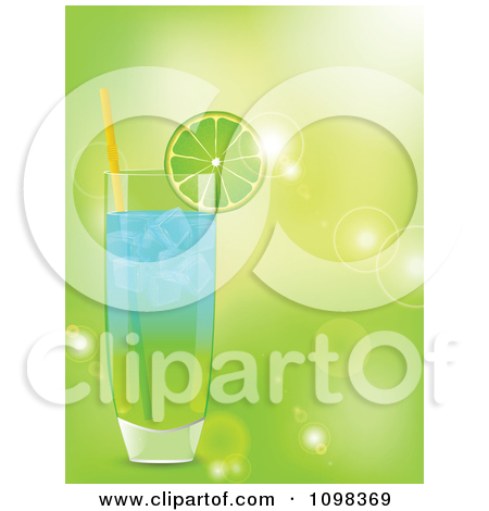 Clipart Highball Cocktail With Lemon And Lime Slices And A Grunge.