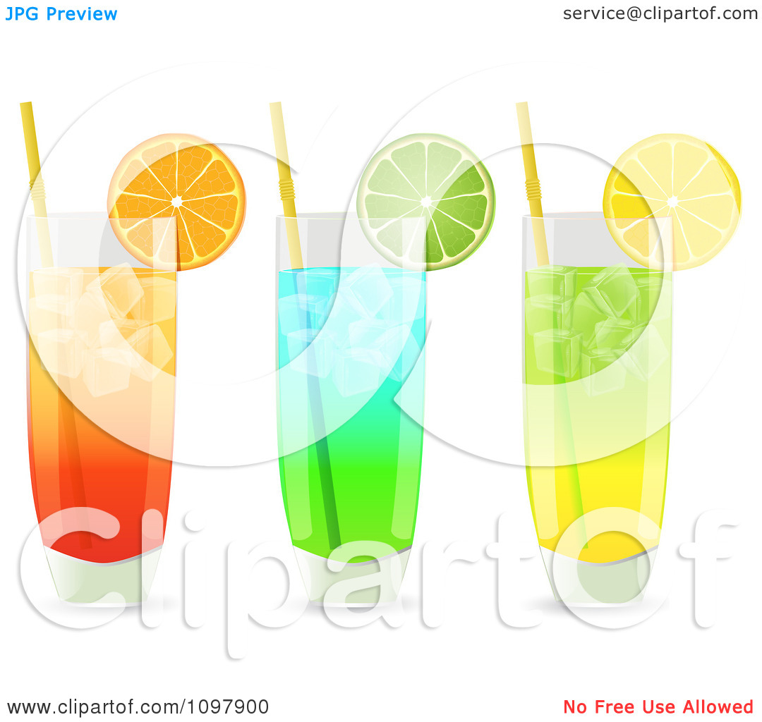 Clipart 3d Cocktail Drinks In Highball Glasses Garnished With.