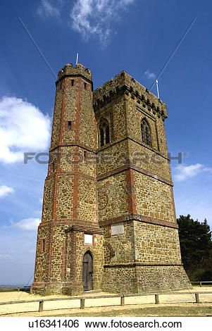 Stock Images of England, Surrey, Leith Hill. Gothic tower on top.