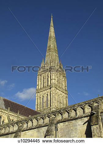 Stock Image of England, Wiltshire, Salisbury. The spire of.