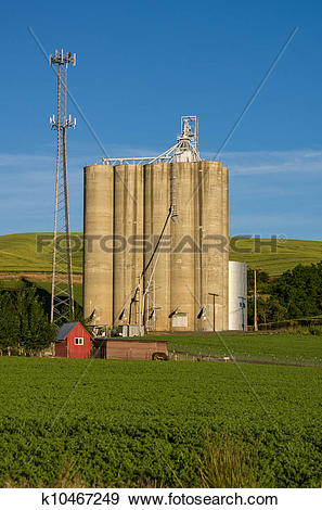 Stock Photograph of Cell tower and grain silo with green field.