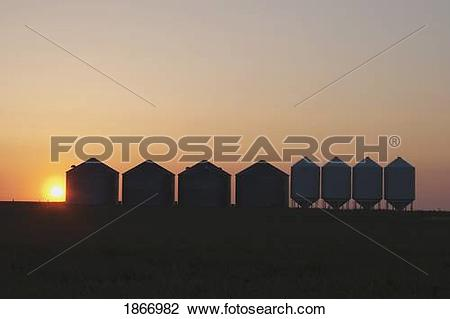 Stock Photo of grain silos south of high river, alberta, canada.