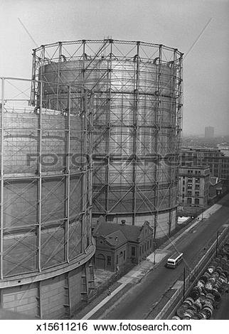 Stock Images of Large grain silos, (B&W), (high angle view.
