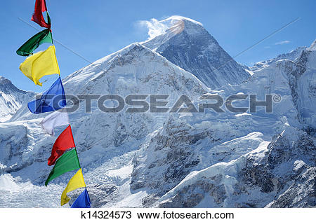Stock Photo of Summit of mount Everest or Chomolungma.
