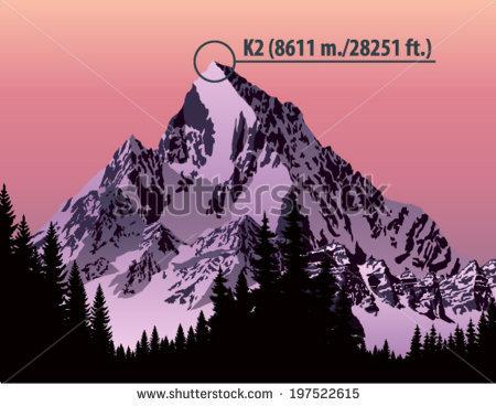 Vector Second Highest Mountain In The World K2. Karakorum Range.
