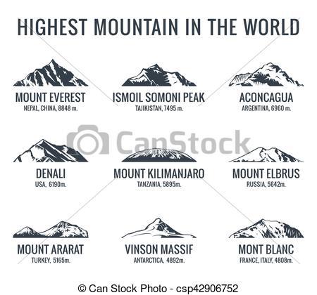 Clipart Vector of Mountain tourist vector logos set. Posters.