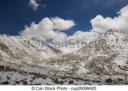 Stock Photo of Chang La Pass, the third highest driveable mountain.